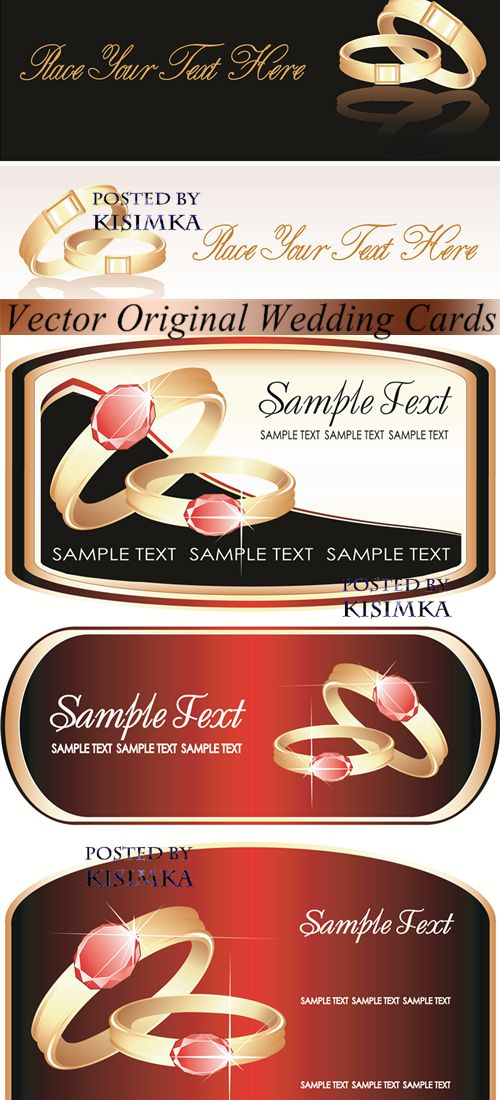 Stock: Vector Original Wedding Cards