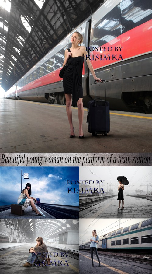Stock Photo: Beautiful young woman on the platform of a train station