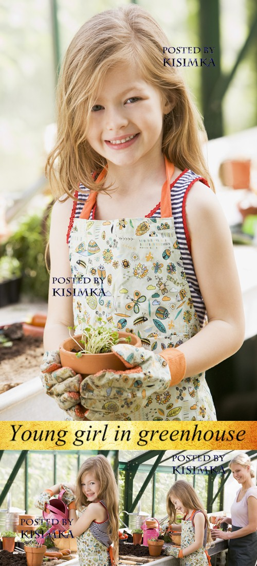 Stock Photo: Young girl in greenhouse