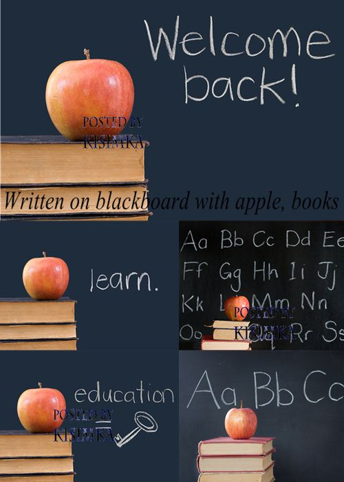 Stock Photo: Written on blackboard with apple, books