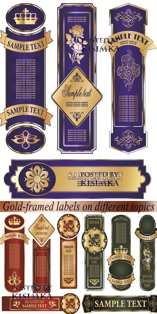 Stock: Gold-framed labels on different topics