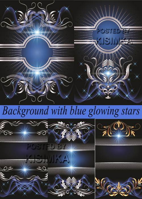 Stock: Background with blue glowing stars