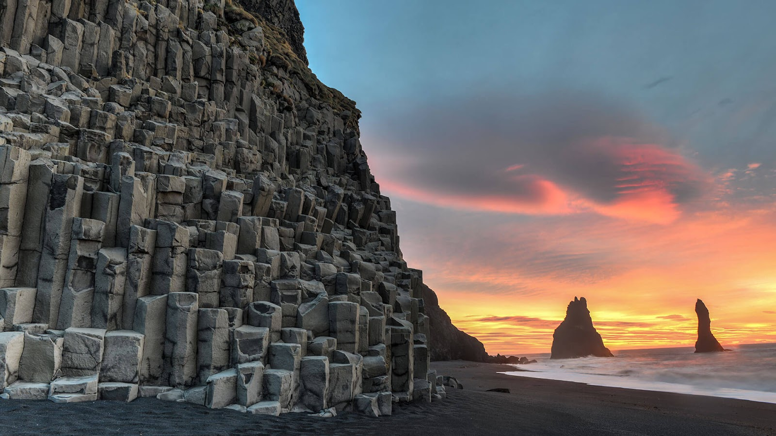coolest places to stay, Reynisfjara Beach, Vík, black sand beach, volcanic beach