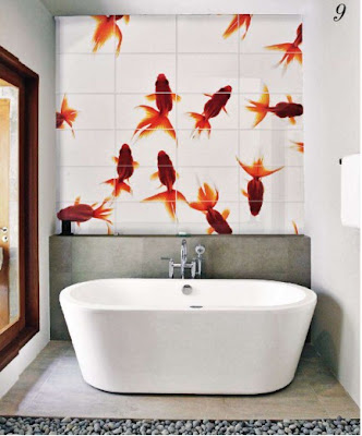 bathtub with fish print tiles