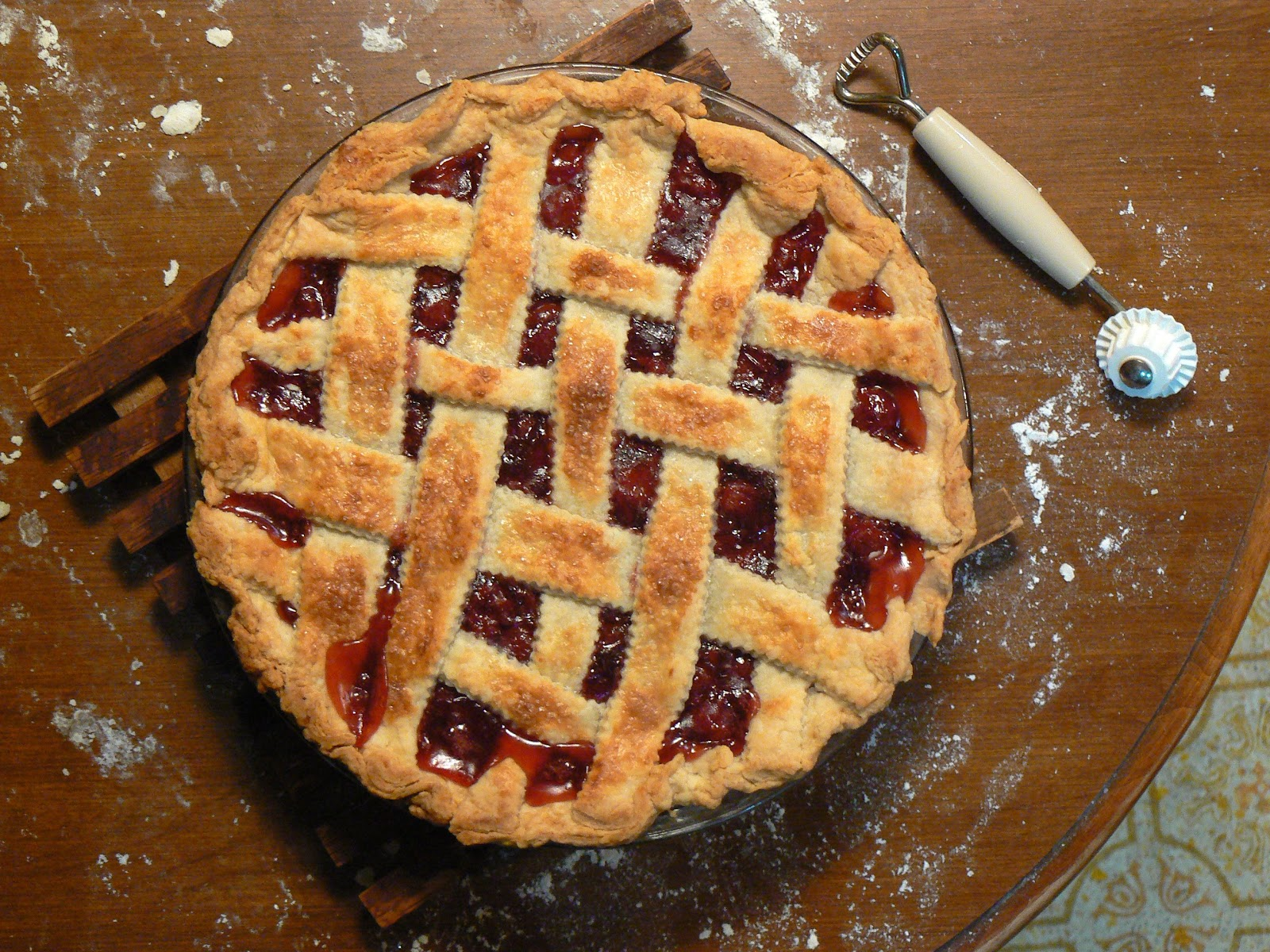 A homemade cherry pie with a