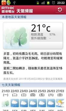 RTHK on the Go - Android - Weather