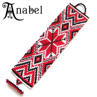 браслет из бисера  с славянским орнаментом Anabel