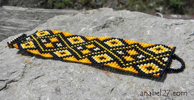 яркий летний широкий браслет из бисера Anabel