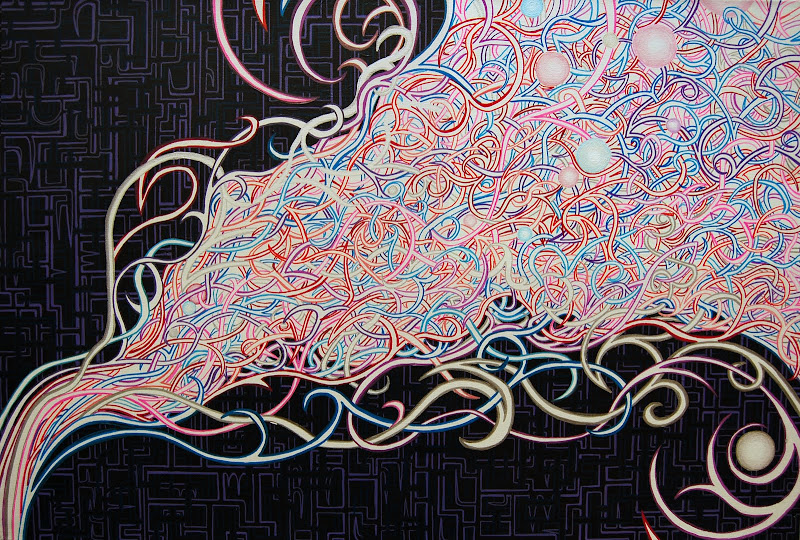 dmt art, juxtapoz visionary art, lsd art, meghan oona clifford art, modern celtic knot work, modern celtic knotting, new contemporary art, pop surrealism art, spiritual world wide web, thinkspace gallery art, urnes style art, visionary artist painting, world wide web painting, alex grey inspired, android jones inspired, flowing art, mystical art, psychedelic art, spiral art, spiritual art, urban art, visionary art