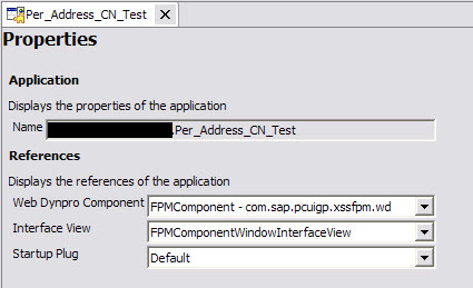 WD Address Application Properties screen