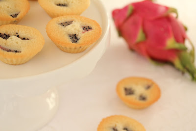 close-up photo of Dragon fruit financiers