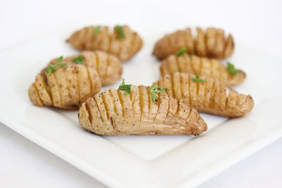 close-up photo of a plate of Mini Hasselback potatoes