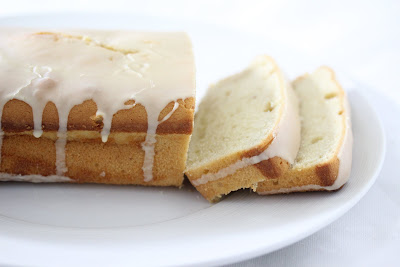 photo of an irish cream pound cake with two slices cut off