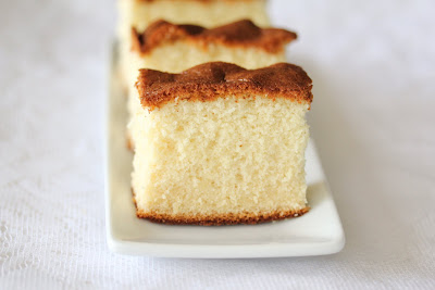 photo of a slice of Honey castella cake