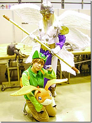 digimon adventure cosplay - takaishi takeru tk, angemon, and patamon