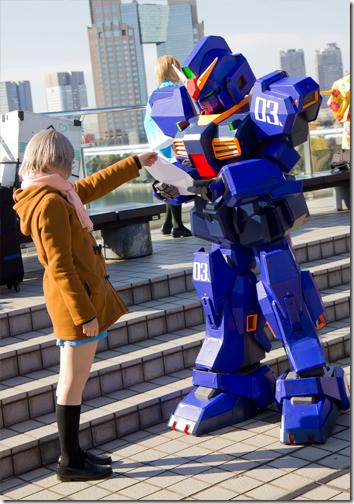 the melancholy of suzumiya haruhi cosplay - nagato yuki / zeta gundam cosplay - rx-178 gundam mk-ii