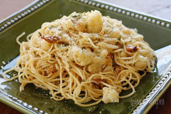 Pasta with cauliflower, toasted bread crumbs, cheese and a mysterious ...