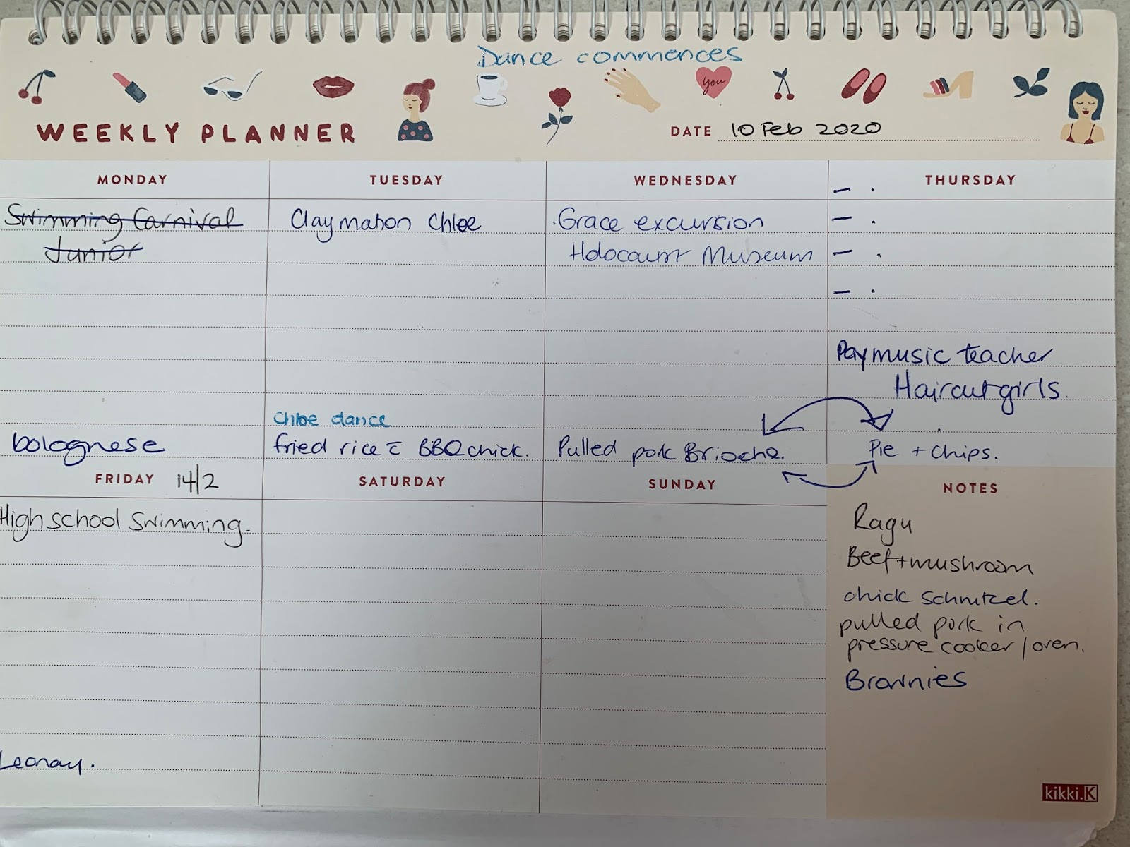 A picture of a weekly planner filled out with family activities
