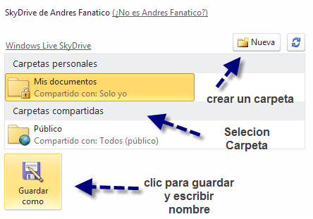 guardar archivos online word 2010