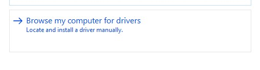 Browse my computer for drivers option in Driver update wizard