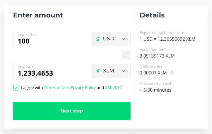 Buy Stellar XLM lumens with USD