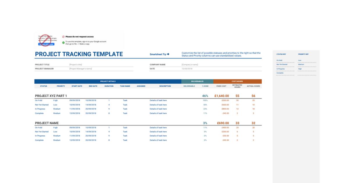 project tracking google sheets. Black Bedroom Furniture Sets. Home Design Ideas