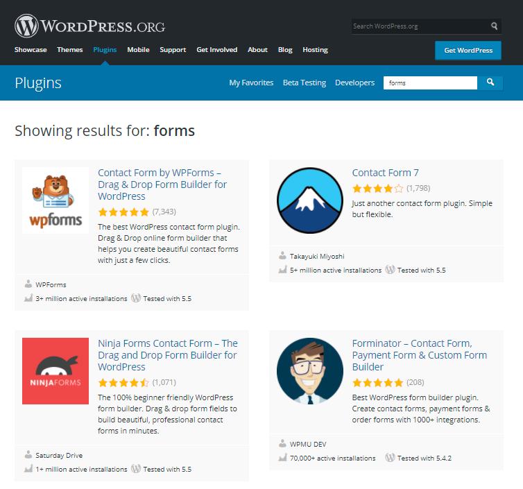 wordpress form plugins on wordpress.org