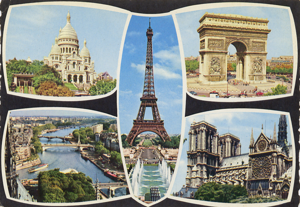 Cartes Postales Pop et  Kitsch des années 50, 70 et 70 - Pop and kitsch vintage postcards from the fifties, the sixties and the seventies : Fenêtres sur la ville