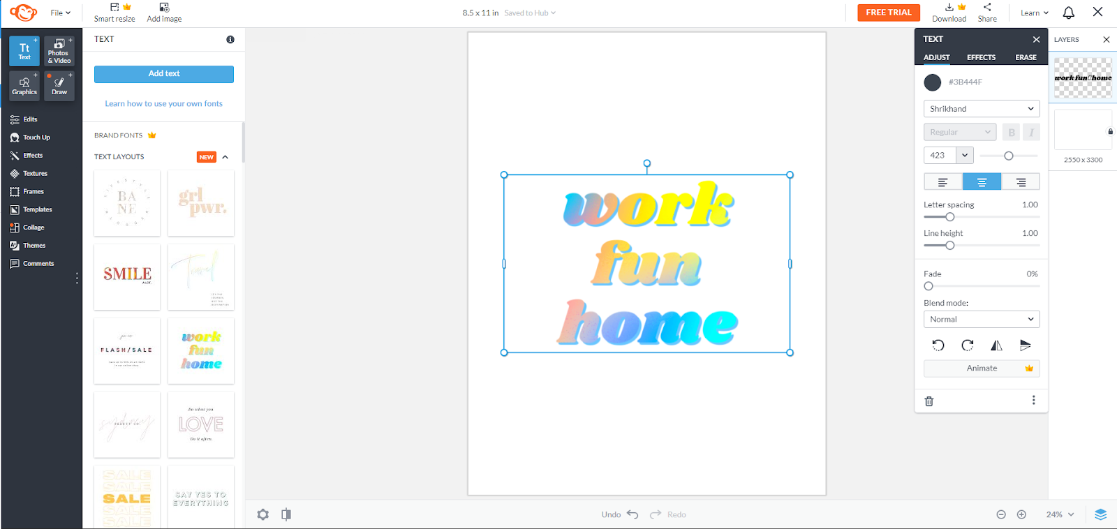 PicMonkey editor with word art