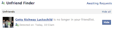 "Facebook tells me that ""Getty Richway Luckschild is no longer in your friend list."""