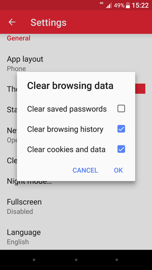 Clear browser cache on Opera Mini using mobile