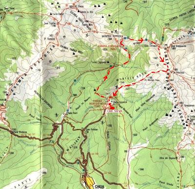 fragment harta muntii Ciucas. Marcare traseu