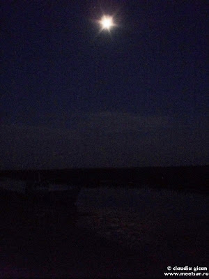 barca cu vasle in lumina lunii