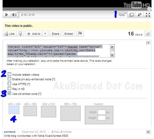 Tip blog sebelum memasuk kod YouTube