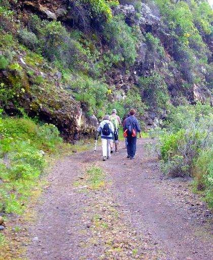 Wanderer auf dem Weg durch einen Barranco,La Palma,Kanaren,