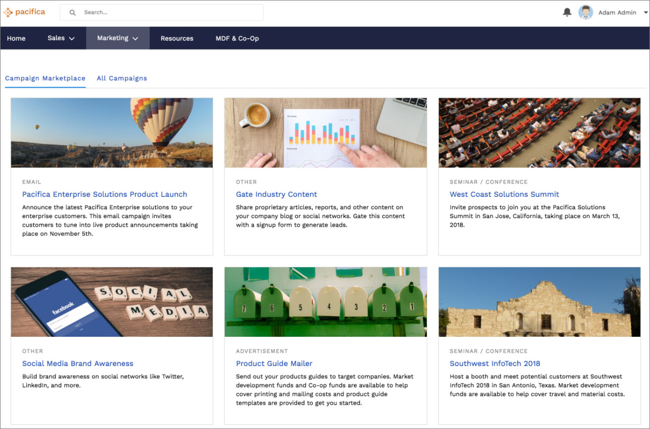 Example of a Campaign Marketplace