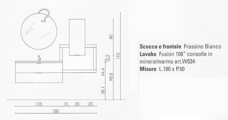 Arredobagno mobile arredo bagno completo sospeso frassino - Misure scarichi bagno ...