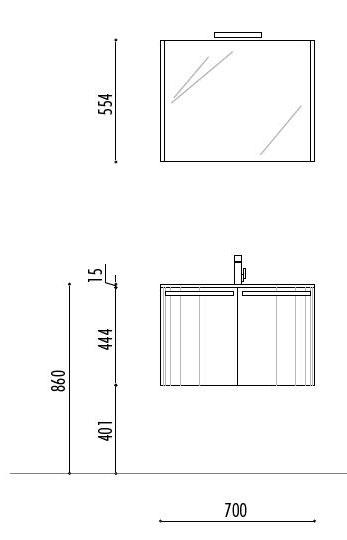 Arredobagno mobile bagno sospeso moderno curvo 05ly ebay - Misure scarichi bagno ...