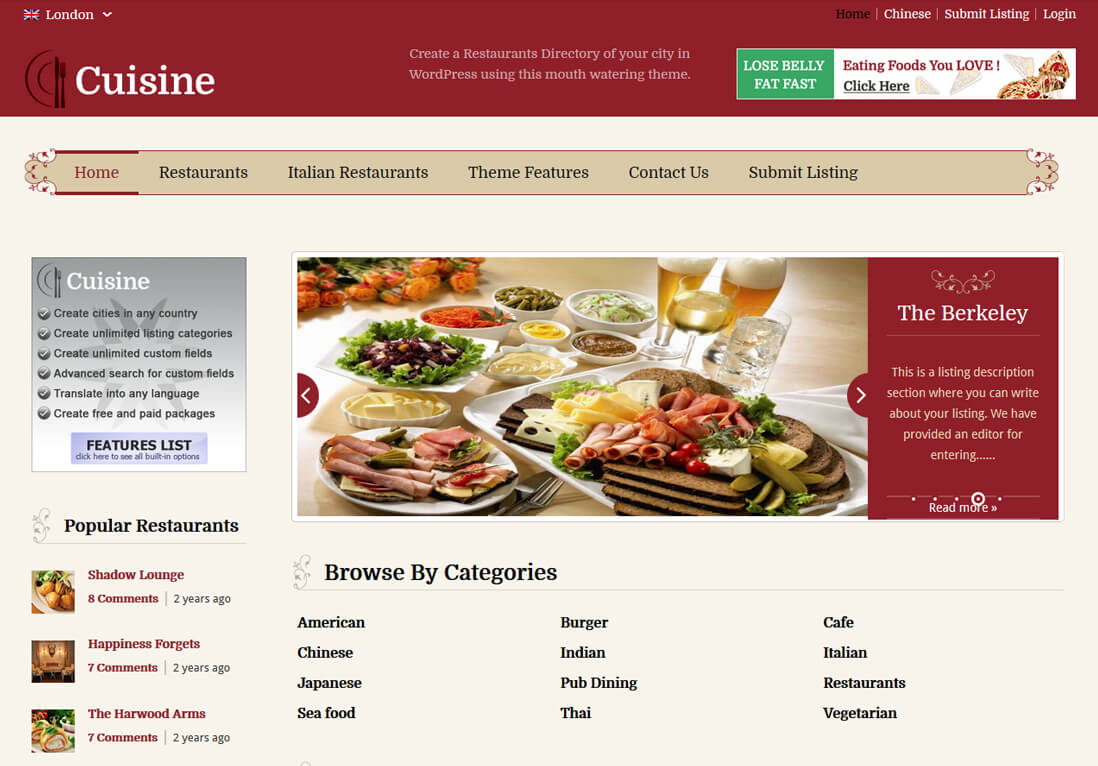 restaurant directory theme sample page