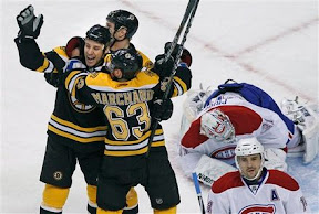 Bruins celebrate Gregory Campbell's goal