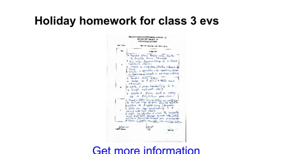 Holiday Homework For Class 3 Evs Google Docs