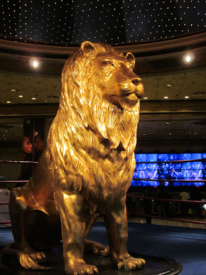 MGM gold lobby lion statue photo