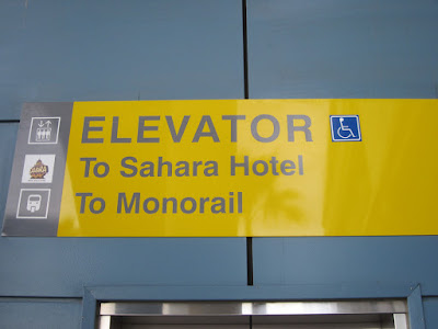 Sahara hotel casino monorail sign elevator vegas photo