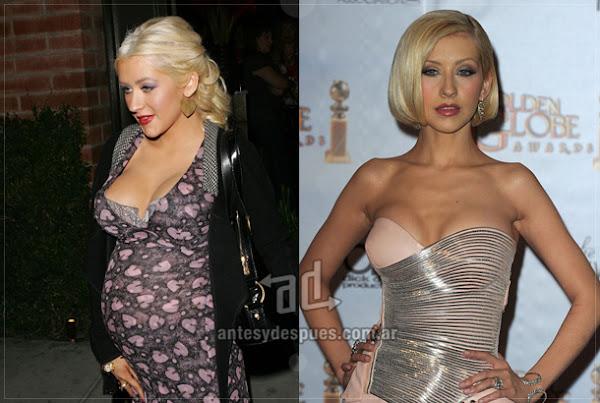 Antes y despues de Christina-Aguilera embarazada