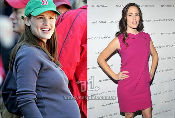 Antes y despues de Jennifer-Garner embarazada