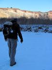 Crossing the frozen San Rafael River