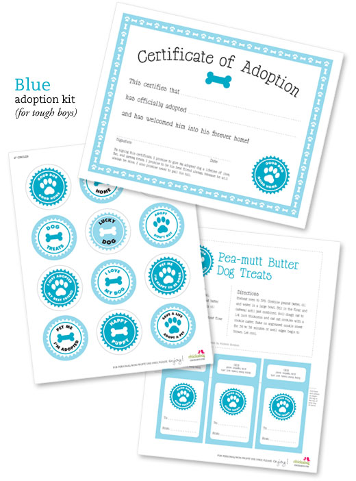 Free printable dog adoption kit | Chickabug