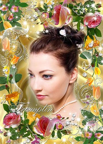 Цветочная рамка для фото – Розовые розы, Желтые тюльпаны