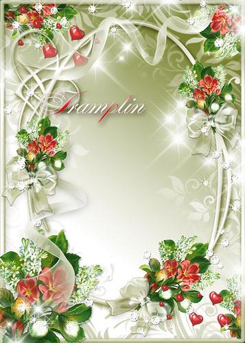 Рамка для фото – Цветочки, сердечки, бантики
