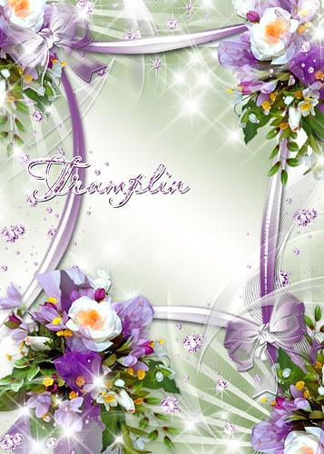 Цветочная рамка – Букетики в  лилово-зеленых тонах